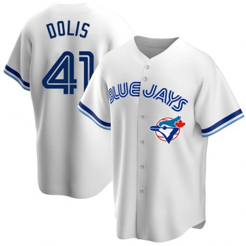 Youth Rafael Dolis Toronto Blue Jays Replica White Home Cooperstown Collection Jersey