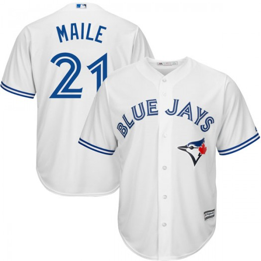 Youth Majestic Luke Maile Toronto Blue Jays Player Replica White Cool Base Home Jersey